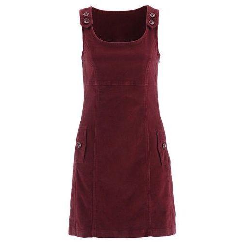 Bonprix Sukienka sztruksowa ze stretchem bordowy