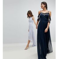 Maya Tall Cold Shoulder Sequin Detail Tulle Maxi Dress With Ruffle Detail - Navy