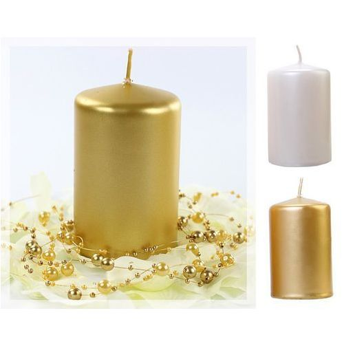 Świece klubowe metalizowane 100/65 x 6szt / perłowy lub złoty