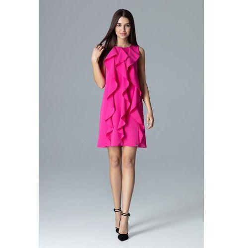 2ae0928467 Zobacz ofertę Fuksja Wyjściowa Sukienka Trapezowa z Pionowymi Falbankami