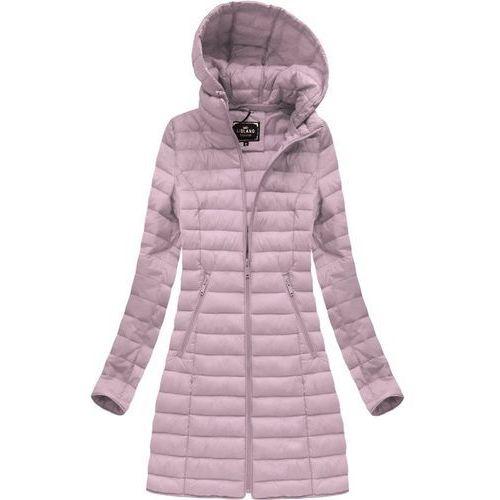 3e10308570d90 Libland Długa pikowana kurtka z kapturem antyczny róż (7235big) - różowy,  Libland