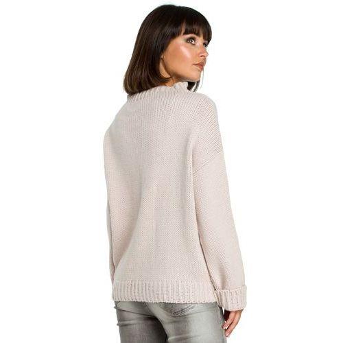 0b31c94ae0 Sweter damski z warkoczem różowy BK003