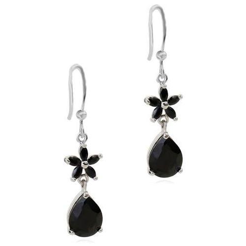 Kol 599/666 KOLCZYKI z cyrkonią łezką i małym czarnym kwiatuszkiem, srebrne