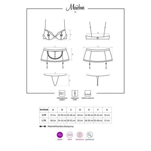 Strój pokojówki – Obsessive Maidme Set 5 części S/M, kolor czarny