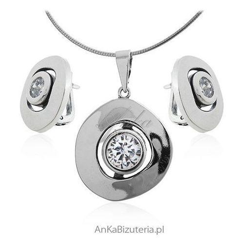 Biżuteria srebrna komplet z cyrkonią, kolor szary