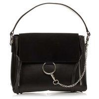 Czarna elegancka torba listonoszka z metalowym łańcuszkiem