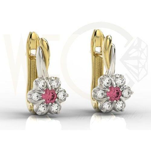 Węc - twój jubiler Kolczyki z żółtego i białego złota z rubinami i cyrkoniami apk-68zb-c - cyrkonia ||rubin