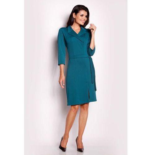 Zielona Sukienka z Kopertowym Dekoltem, kopertowa