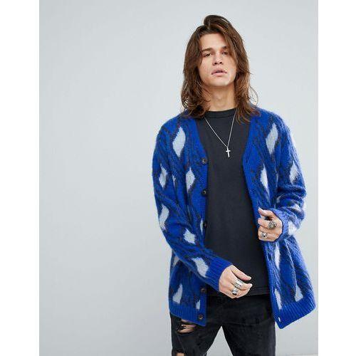 ASOS Fluffy Cardigan With Mohair Wool Blend In Bright Blue - Blue, w 3 rozmiarach