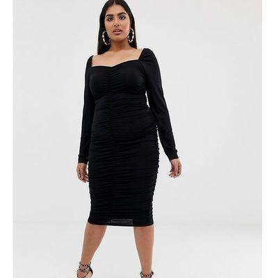 b31c7a0b3e suknie sukienki dresowa sukienka midi tuba mkm184 czarna w kategorii ...