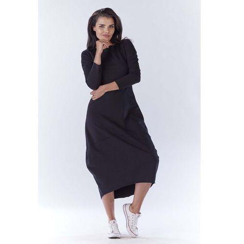 44452cd505 Czarna długa sportowa sukienka bombka (Awama) - sklep SkladBlawatny.pl