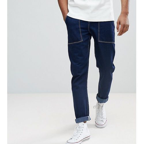 ASOS TALL Tapered Jeans In Recycled Cotton - Blue, kolor niebieski