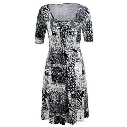 Sukienka, krótki rękaw bonprix czarno-biały wzorzysty, kolor czarny