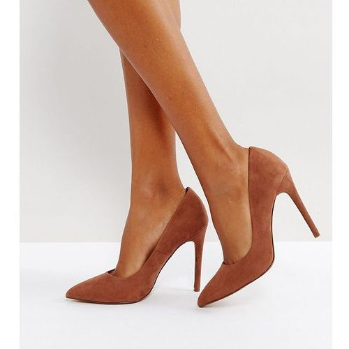 e2881fd856d Asos design wide fit paris pointed high heeled court shoes in mocha - brown