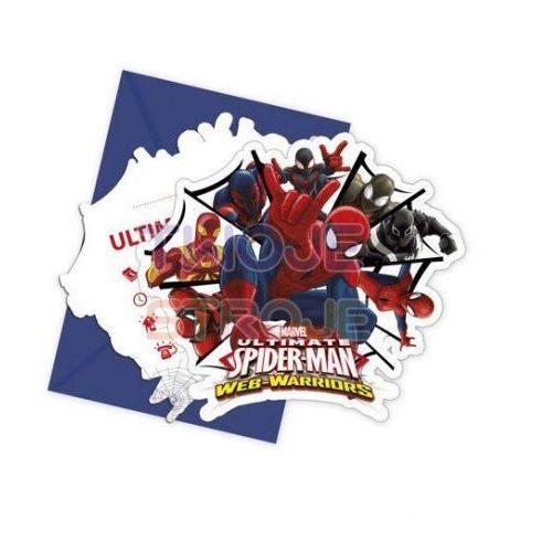 ZAPROSZENIE NA URODZINY SPIDERMAN ULTIMATE 6szt, #A210^p