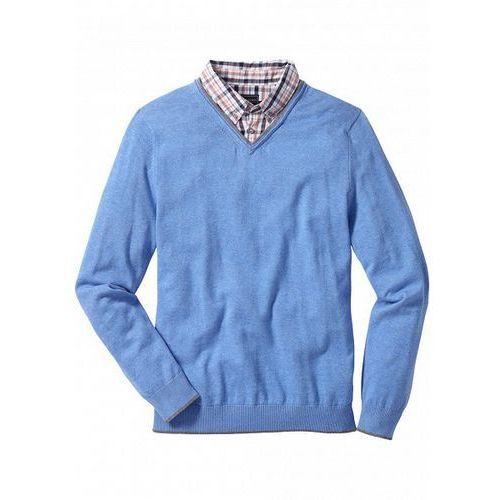 a82fbdd1bb8c Sweter z kołnierzykiem koszulowym regular fit jasnoniebieski melanż ...