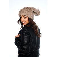 Oversizowa czapka z pomponem na zimę LC121 kamel