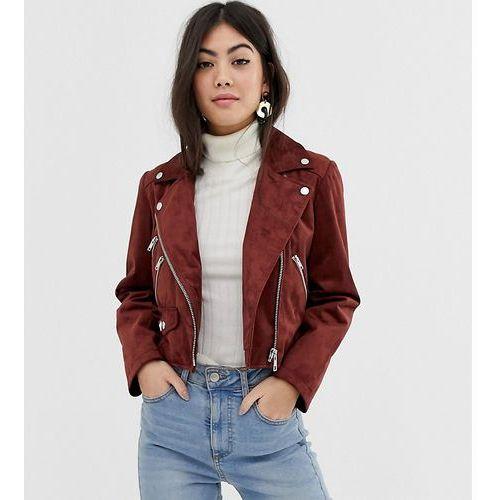 f7cf5fbd160ce ASOS DESIGN petite suedette biker jacket - Brown, ramoneska ceny ...