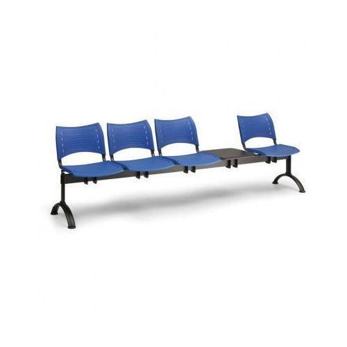 Plastikowa ławka do poczekalni visio, 4 siedzenia + stołek, zielony, czarne nogi B2b partner