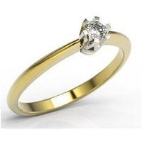 Węc - twój jubiler Pierścionek zaręczynowy z żółtego i białego złota z brylantem jp-2508zb