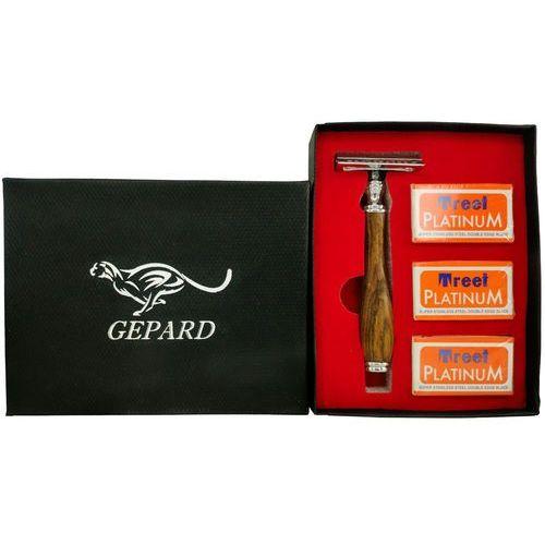 Profesjonalna tradycyjna maszynka do golenia m603 wood black+ 10 żyletek derby + etui Gepard - Świetny rabat