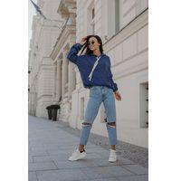 Swetrowa bluza kangurka z kapturem - jeans