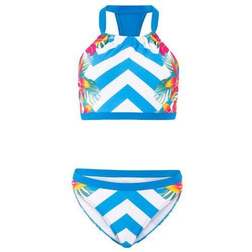 Bonprix Bikini z biustonoszem bustier (2 części) niebiesko-biały z nadrukiem