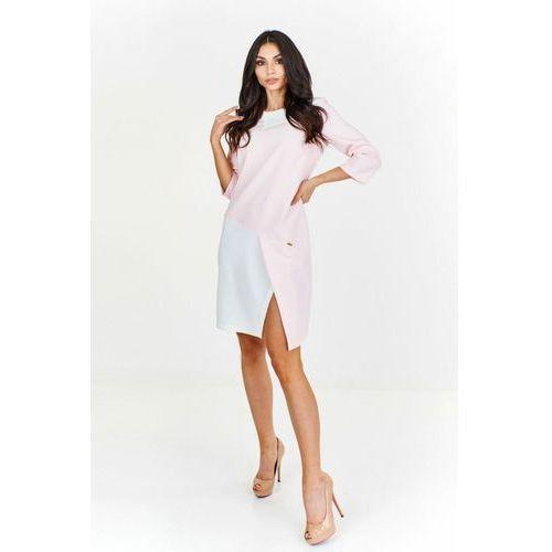 Nowoczesna sukienka pudełkowa, kolor różowy