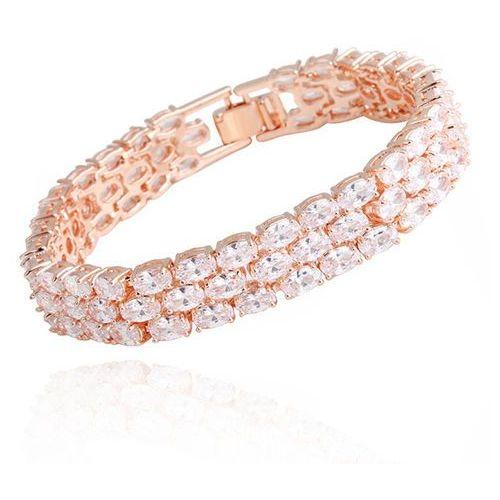 Mak-biżuteria Br599/872 bransoletka ślubna różowe złoto z cyrkoniami