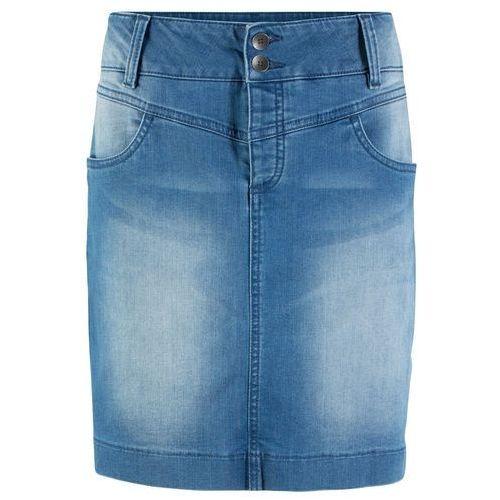 """Spódniczka dżinsowa z poliestru z recyklingu, przyjazna dla środowiska bonprix niebieski """"stone"""", kolor niebieski"""