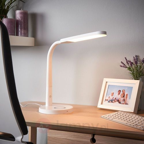 Lindby Biała lampka biurkowa led maily, gniazdo usb (4251096529562)
