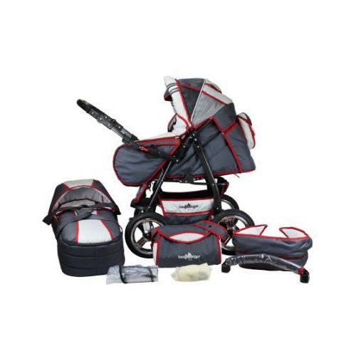 Wózek spacerowy rio - zestaw grey & red stripes Bergsteiger