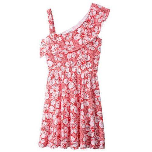 0396852fa8 Sukienka z falbaną w dekolcie bonprix biało-czerwony z nadrukiem
