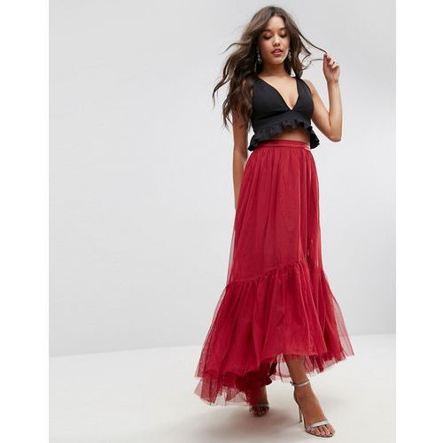Maxi tulle skirt with tiered hem - red, Asos