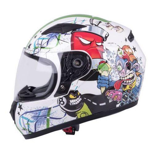 szalona cena dobra obsługa sprzedaż Dziecięcy kask motocyklowy integralny FS-815G Tagger Green, Biało-zielony z  grafiką, S (47-48) (W-TEC)