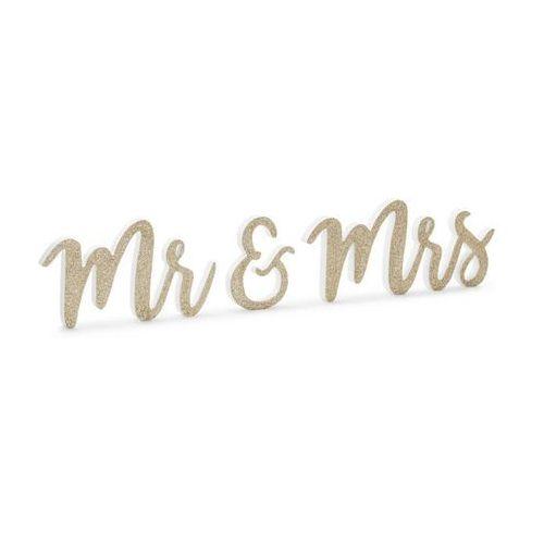 Drewniana dekoracja stołu Mr & Mrs złota brokatowa - 1 op. (5900779110083)