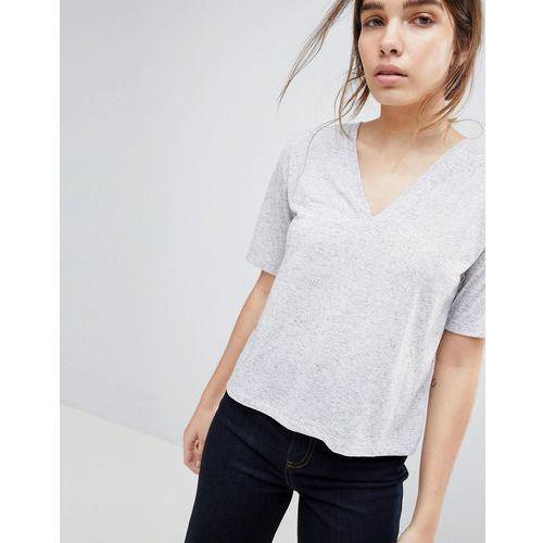e0234521 T-shirt with v-neck in linen mix in grey marl - Grey, len (ASOS ...