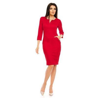 a8430752e9 Czerwona Dopasowana Wizytowa Sukienka z Suwakiem przy Dekolcie