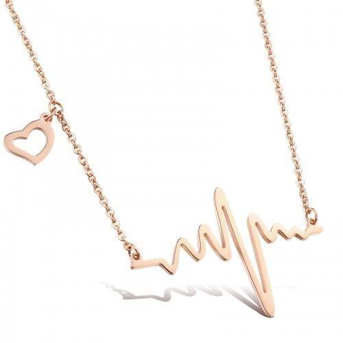 Nk 599/733 NASZYJNIK ze stali EKG linia życia różowe złoto, kolor różowy