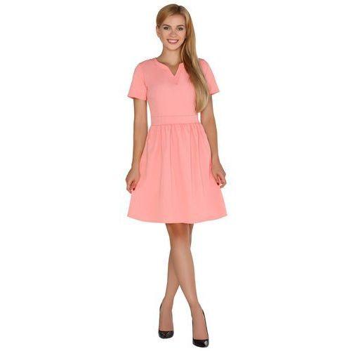 96810b346f Zobacz ofertę Koralowa rozkloszowana sukienka z nowoczesnymi akcentami  Merribel