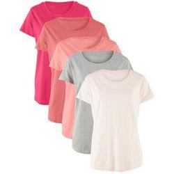 Długi shirt z okrągłym dekoltem (5 szt.), krótki rękaw bonprix kremowy jasnoróżowy + brzoskwiniowy + rabarbarowy + czerwień granatu + jasnoszary melanż