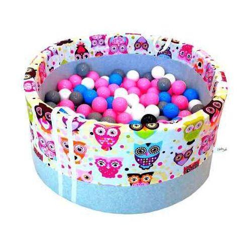 Suchy basen z piłeczkami dla dzieci BabyBall różowe sowy, BB-0010