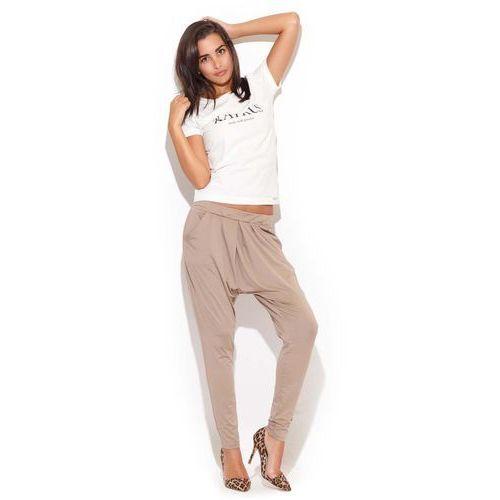 Beżowe Długie Spodnie z Obniżonym Krokiem, kolor beżowy