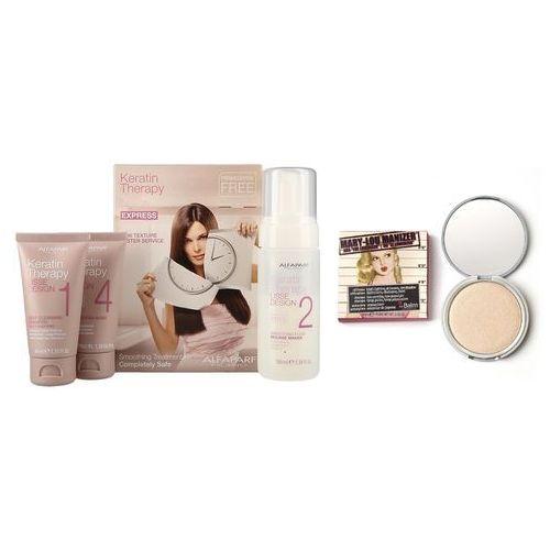 keratin therapy smoothing treatment kit and mary-lou manizer   zestaw do włosów i makijażu: zestaw do keratynowego prostowania włosów + puder rozświetlający 9,06g marki Alfaparf