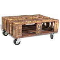 vidaXL Stolik do kawy vintage 4 koła przetworzone drewno (8718475868392)