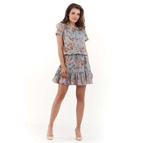 3af0ee3ca1 Bordowa Sukienka Rozkloszowana Midi z Krótkim Rękawem