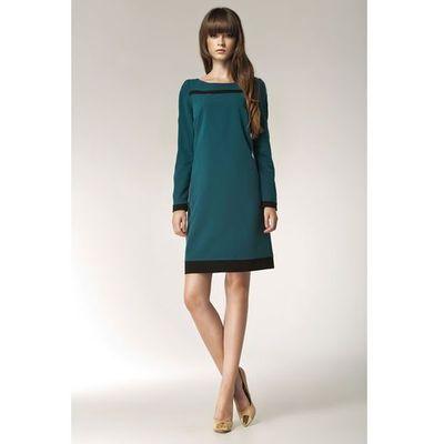 8f25f762de Nife Zielona elegancka sukienka z długim rękawem i czarnymi panelami MOLLY