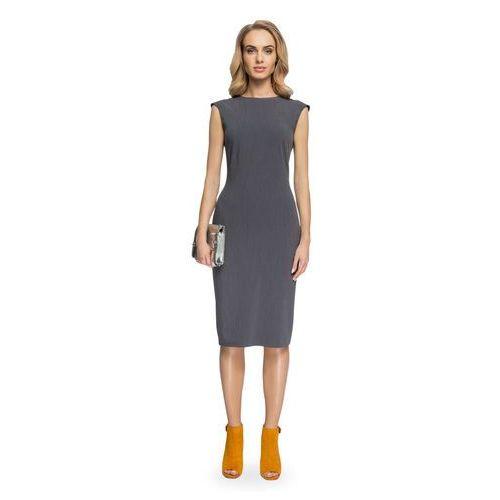 dabd1d435ad519 ... Prosta sukienka ołówkowa długości midi bez rękawów szara S080, kolor  szary - Galeria ...