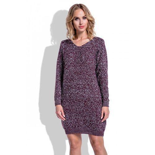 b0865e6ebf Zobacz ofertę Fobya Swetrowa bordowa sukienka mini z dekoltem ...