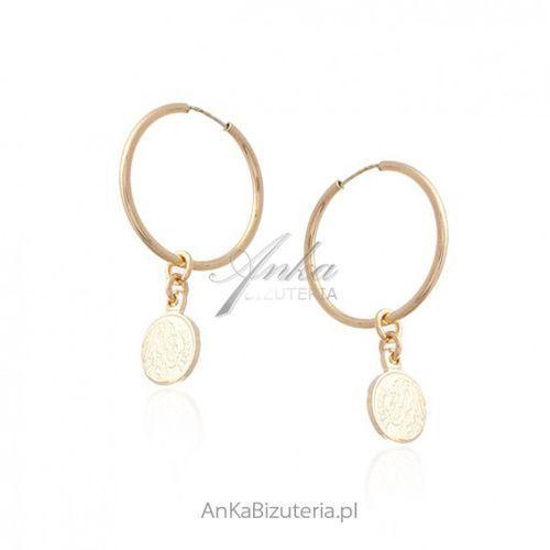 bb830a34f92879 Zobacz w sklepie Ankabizuteria.pl Srebrne kolczyki pozłacane kółka z  wiszącymi monetami, kolor szary